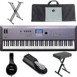 Yamaha MM8 88-Key Synthesizer Keyboard Value Bundle Kit B&H