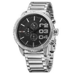 Alienwork Weide Quarzuhr Armbanduhr XXL Oversized Uhr Metall schwarz schwarz OS.WH-3310-1
