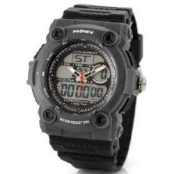 Alienwork Pasnew Analog-Digital LCD Armbanduhr Multi-funktion Uhr Wasserdicht 5ATM Kautschuk schwarz schwarz PSE-367A-01