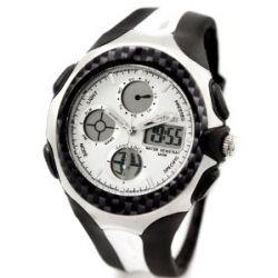 Alienwork Ohsen Analog-Digital LED Armbanduhr Chronograph Uhr Multi-funktion Kautschuk weiss weiss OS.AD0926-2