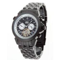 Yves Camani Herren-Armbanduhr XL YVES CAMANI Worldtimer Automatik Black Silver Analog Edelstahl YC1029-O