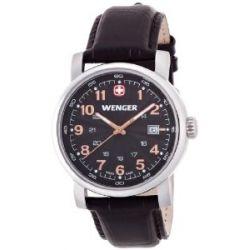 Wenger Herren-Armbanduhr XL Urban Classic Analog Quarz Leder 01.1041.104