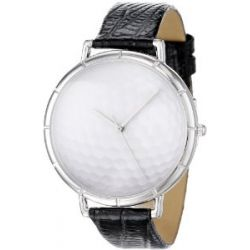 Whimsical Watches Unisex-Armbanduhr Golf Lover Black Leather And Silvertone Photo Watch #T0840009 Analog Leder mehrfarbig T-0840009