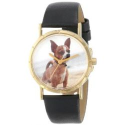 Whimsical Uhres Kids' P0130023 Classic Chihuahua Black Leather And Goldtone Photo Uhr