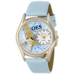 Whimsical Uhres Damen C0710008 Classic Gold Order of the Eastern Star Baby Blue Leather And Goldtone Uhr