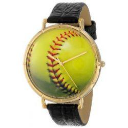Skurril Uhren N0840003 Softball Liebhaber schwarzem Leder und Goldton Foto Watch