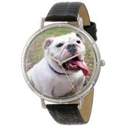 Skurril Uhren T0130018 Bulldog schwarzem Leder und Silvertone Foto Watch