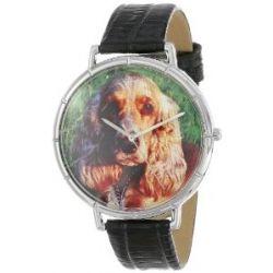 Skurril Uhren T0130027 Cocker Spaniel schwarzem Leder und Silvertone Foto Watch