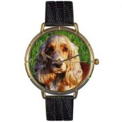 Skurril Uhren N0130027 Cocker Spaniel schwarzem Leder und Goldton Foto Watch
