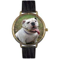 Skurril Uhren N0130018 Bulldog schwarzem Leder und Goldton Foto Watch