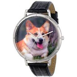Skurril Uhren T0130029 Corgi schwarzem Leder und Silvertone Foto Watch