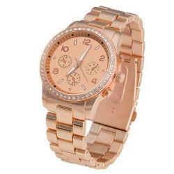 Taffstyle® Elegante Designer Damen & Herren Armbanduhr Chronograph Optik mit Kristallen - Roségold