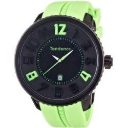 TENDENCE Unisex-Armbanduhr GULLIVER ROUND FUNKY Analog Plastik Grün 02043024