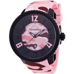 TENDENCE Unisex-Armbanduhr GULLIVER ROUND - CAMO Analog Plastik Rosa T0430027
