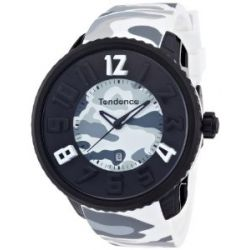 TENDENCE Unisex-Armbanduhr GULLIVER ROUND - CAMO Analog Plastik Weiß T0430028