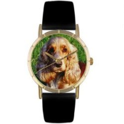 Whimsical Watches Unisex-Armbanduhr Cocker Spaniel Black Leather And Goldtone Photo Watch #P0130027 Analog Leder Mehrfarbig P-0130027