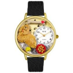 Whimsical Watches Unisex G0130027 Cocker Spaniel Black Skin Leder Uhr