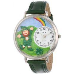Whimsical Watches Unisex U1224002 St. Patricks Day Regenbogen Hunter Green Leder Uhr