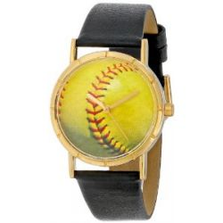 Skurril Uhren P0840003 Softball Liebhaber schwarzem Leder und Goldton Foto Watch