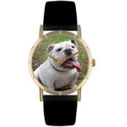 Skurril Uhren P0130018 Bulldog schwarzem Leder und Goldton Foto Watch