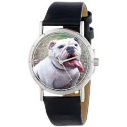 Skurril Uhren R0130018 Bulldog schwarzem Leder und Silvertone Foto Watch