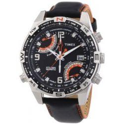 Timex Herren-Armbanduhr XL Timex IQ Fly-Back Chrono Compass Analog Quarz Leder T49867