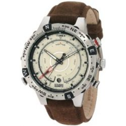 Timex Adventure Series Tide-Temp Watch - Brushed Steel Case/Brown Strap
