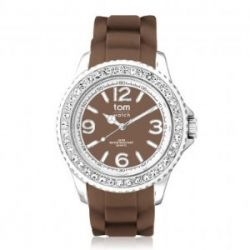 Tom Watch Crystal 40 chocolate brown / Damen und Herren Silikon Armbanduhr / WA00086, 40 mm, braun
