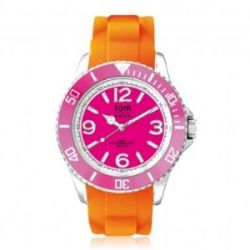 Tom Watch Basic Summer 44 indian summer / Damen und Herren Silikon Armbanduhr / WA00121, 44 mm, pink/orange
