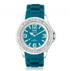 Tom Watch Crystal 44 petrol green / Damen und Herren Silikon Armbanduhr / WA00047, 44 mm, petrol