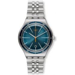 Swatch Herren-Armbanduhr XL Irony Big Classic Star Chief Analog Quarz Edelstahl YWS402G