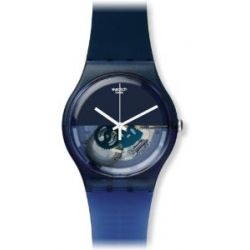 Swatch Herren-Armbanduhr XL Gent Blue Depth Analog Quarz Plastik SUON105