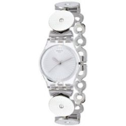 Swatch Damen-Armbanduhr XS Disco Lady Analog Quarz Edelstahl LK339G