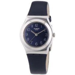 Swatch Damen-Armbanduhr XS Irony Nachtblau Analog Quarz Leder YSS271