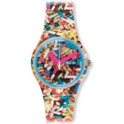 Swatch Unisex-Armbanduhr Gent Sprinkled Analog Quarz Silikon SUOW705