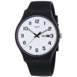 Swatch Herren-Armbanduhr XL New Gent Twice Again Analog Quarz Silikon SUOB705