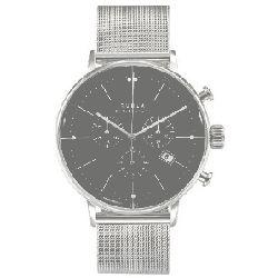 Ruhla chrono 91204M Garde Herrenuhr Chronograph rund Milanaiseband Stahl Armbanduhr Zifferblatt schwarz Datum