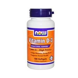 Now Foods, Vitamin D-3, High Potency, 1000 IU, 180 Softgels