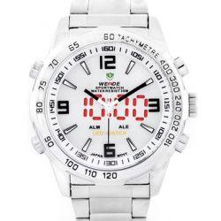 Alienwork DualTime Analog-Digital Armbanduhr Multi-funktion LED Uhr Edelstahl weiss silber OS.WH-1009-2