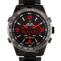 Alienwork DualTime Analog-Digital Armbanduhr Multi-funktion LED Uhr Edelstahl schwarz schwarz OS.WH-1009-B-4