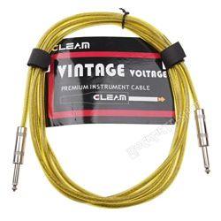 kabel gitarowy GLEAM VINTAGE 3m YELLOW jack prosty/prosty
