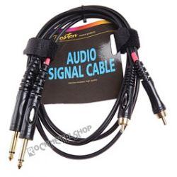 przewód audio BOSTON: 2x RCA (cinch) -  2x JACK MONO duży (6.3mm) / 1,5m