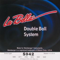 struny do gitary elektrycznej LA BELLA S942 Double Ball EXTRA LIGHT /009-042/
