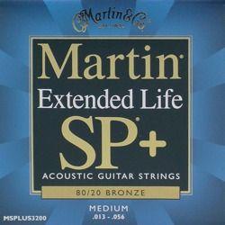 struny do gitary akustycznej MARTIN MSPLUS3200 - Extended Life, 80/20 BRONZE, Medium /013-056/