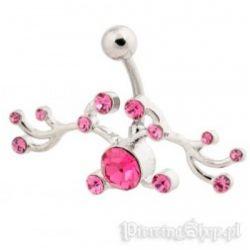 kolczyk do pępka ORNAMENT różowe kryształki [BST679] PRC-1506