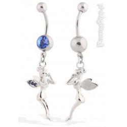 kolczyk do pępka WRÓŻKA kryształki kolor niebieski [BST723] PRC-1530
