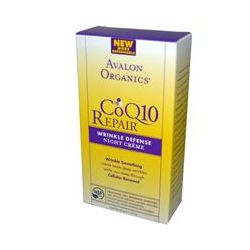 Avalon Organics, CoQ10 Repair, Wrinkle Defense Night Cream, 1.75 oz (50 g)