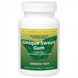 Unique Sweet Xylitol Gum, Green Tea (100 pieces)