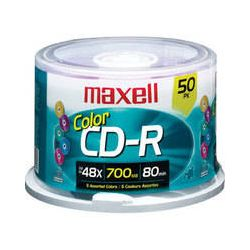 Maxell  Color CD-R 48x, Disc (50) 648251 B&H Photo Video