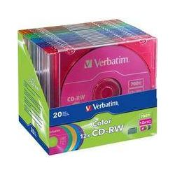 Verbatim CD-RW 80MIN 700MB 12x Color 20pk Matching Color 96685
